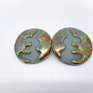 Jewelry - Funky Vintage Ceramic Iridescent Glaze Earrings